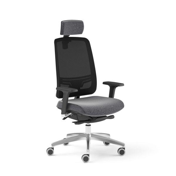 Bürodrehstuhl ABSOLUTE 115 Drehstuhl mit Netzrücken und Kopfstütze