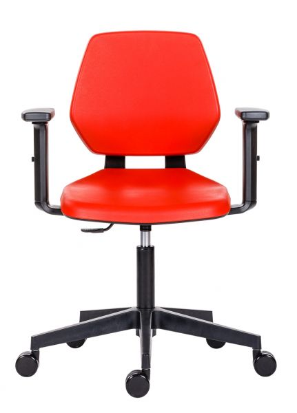 Arbeitsdrehstuhl 622 PU-Schaum rot, grau, schwarz, blau